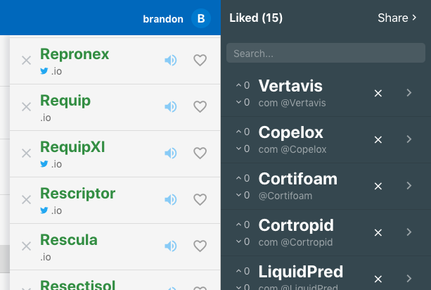 Namebot's AI generated names