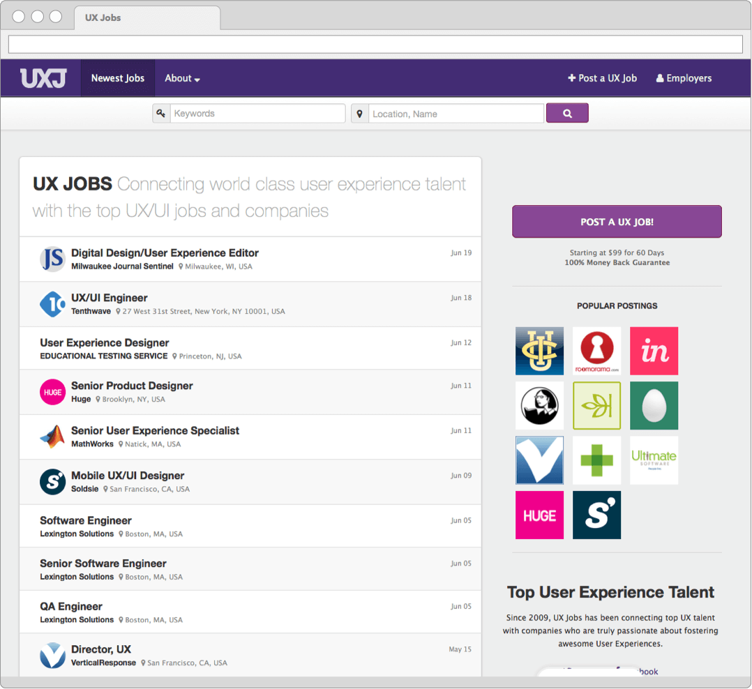 UX Jobs User Interface