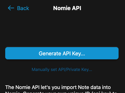 Nomie Generate API