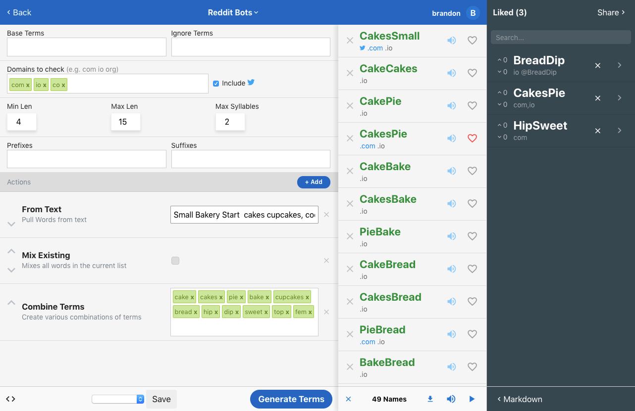 NameBot's Name Runner interface